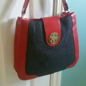 Kate Spade Red Leather Black Fabric Shoulder Bag